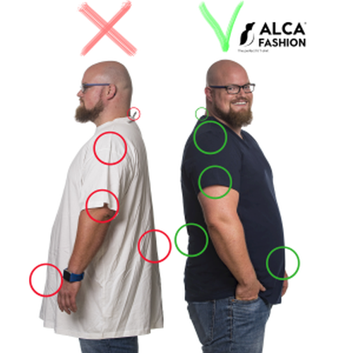 Before and after 4XL T-shirts